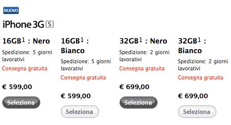Prezzi iPhone 3G S Apple Store
