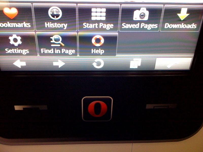 Menù di navigazione di Opera Mini