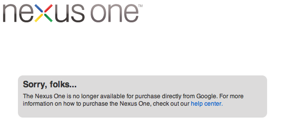 Google's Nexus One strategy fails; Web store to close