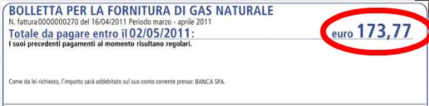 Totale da pagare GAS