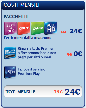 Tuttopremium di mediaset 24 euro al mese e vedi tutto per for Premium play su smart tv calcio live