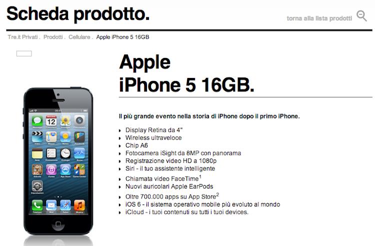 iPhone 5 a 30 euro al mese con l\'offerta Ricaricabile di 3 Italia ...