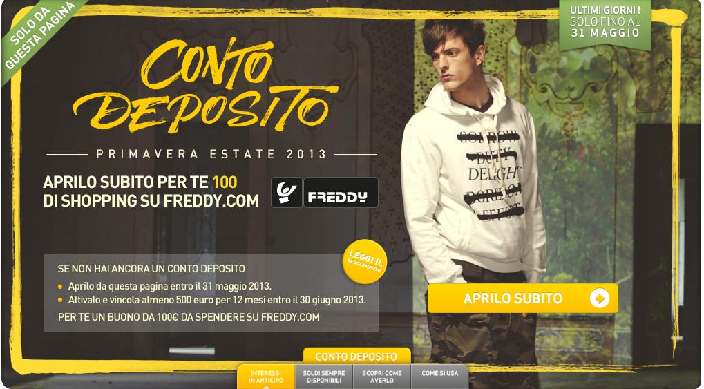Buono spesa Freddy di 100 euro con Conto Deposito CheBanca!