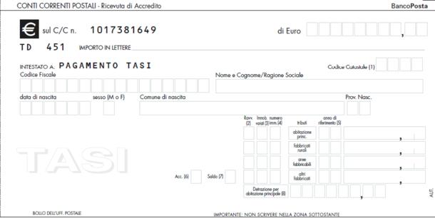 Come pagare la tasi ecco i nuovi bollettini postali for Pagamento canone rai con f24