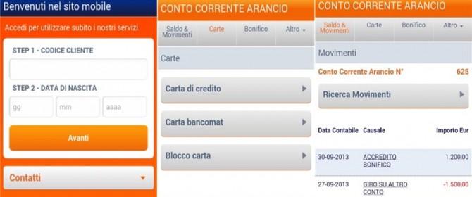 applicazione conto arancio per cellulare e tablet