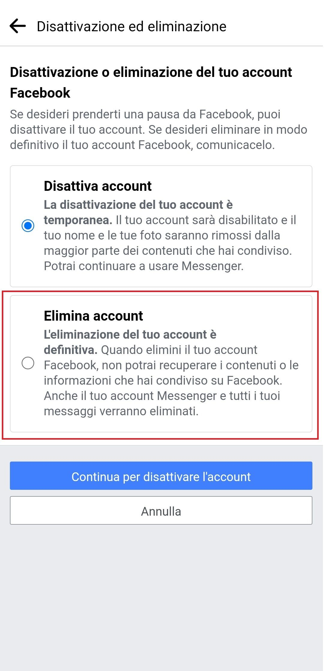 disattivazione o eliminazione account Facebook