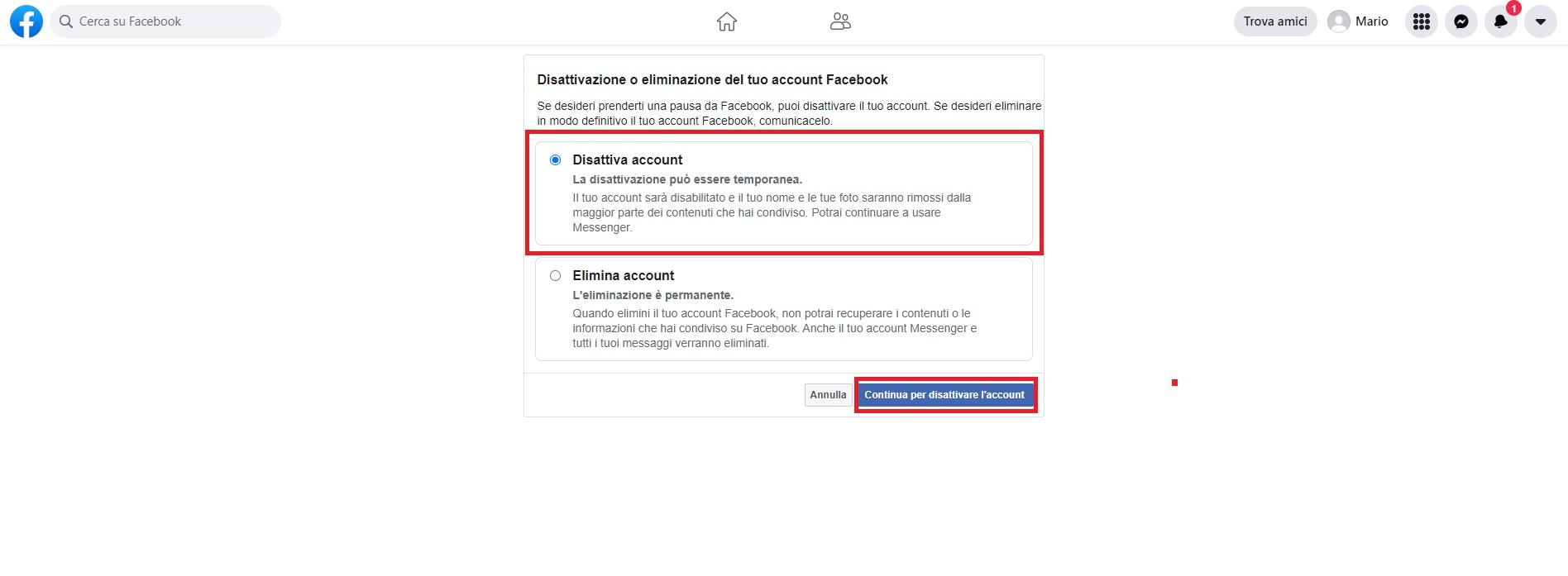 disattivare Facebook temporaneamente