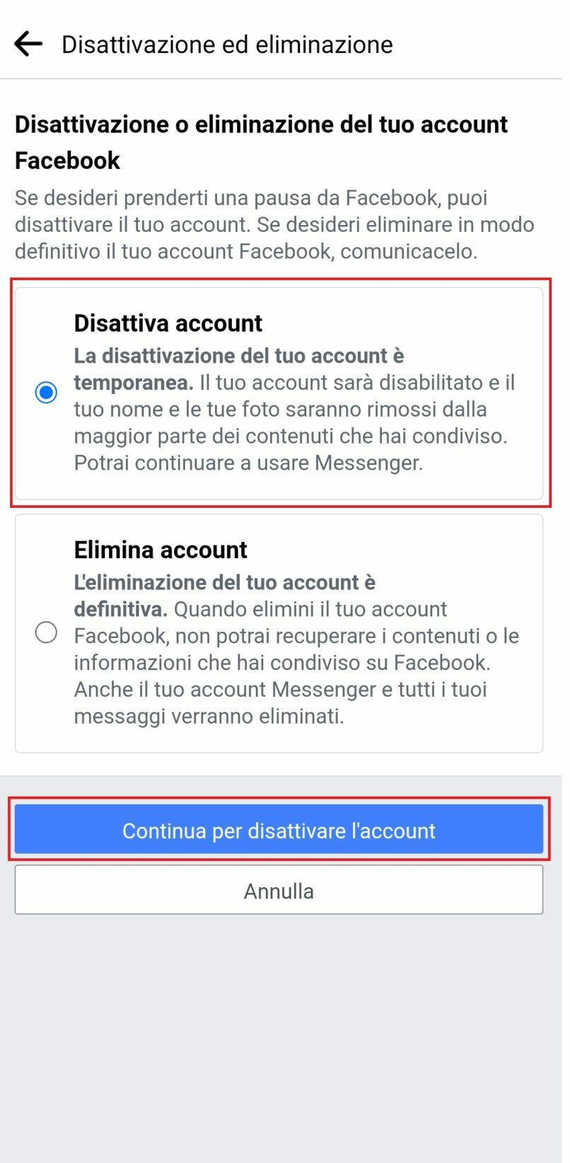 disattivazione account Facebook o eliminazione account Facebook