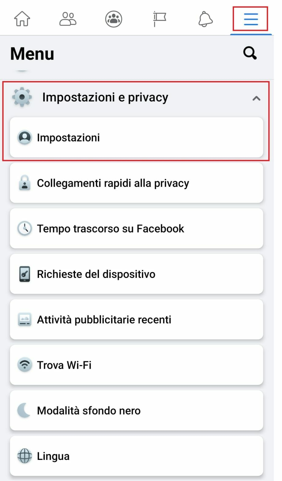 Menù impostazioni e privacy account Facebook su Android