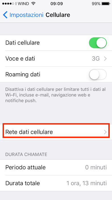 rete dati cellulare iphone wind ios 10
