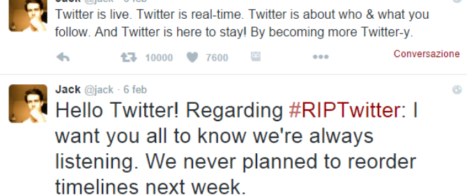 Twitter chiude l'era dei feed in ordine cronologico. Arrivano le smentite.