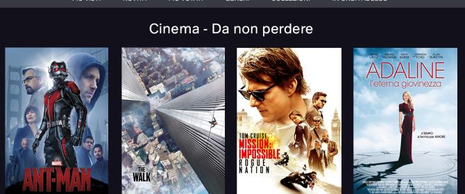 L'opzione Cimema di Now TV propone film da gustare in streaming